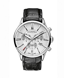 Men's Chronograph 44 mm Dress Watch in Stainless Steel Case on Strap