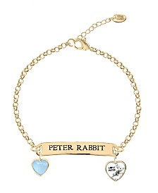 Beatrix Potter Children's Gold Peter Rabbit ID and Heart Charm Bracelet