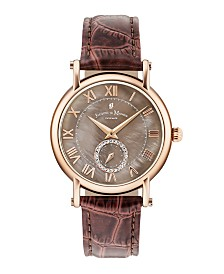 Jacques Du Manoir Ladies' Brown Genuine Leather Strap with Rose Goldtone Case with Mother of Pearl Dial and Diamond Sub Dial, 36mm