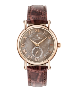 Jacques Du Manoir Ladies' Brown Genuine Leather Strap with Rose Goldtone Case with Mother of Pearl Dial and Diamond Sub Dial