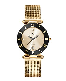 Jacques Du Manoir Ladies' Rose Gold Stainless Steel Mesh with Goldtone Case Black Bezel and Goldtone Dial, 33mm