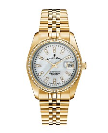 Jacques Du Manoir Ladies' Goldtone Stainless Steel Bracelet with Goldtone Case and Mother of Pearl Dial and Diamond Markers and Bezel, 36mm