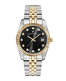 Jacques Du Manoir Ladies' Two Tone Silver or Gold Yellow Stainless Steel Bracelet with Twotone Case and Black Sunray Dial and Diamond Markers, 36mm