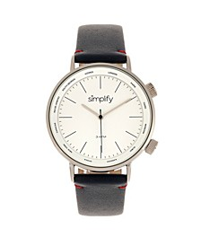 Quartz The 3300 White Dial, Genuine Navy Leather Watch 43mm