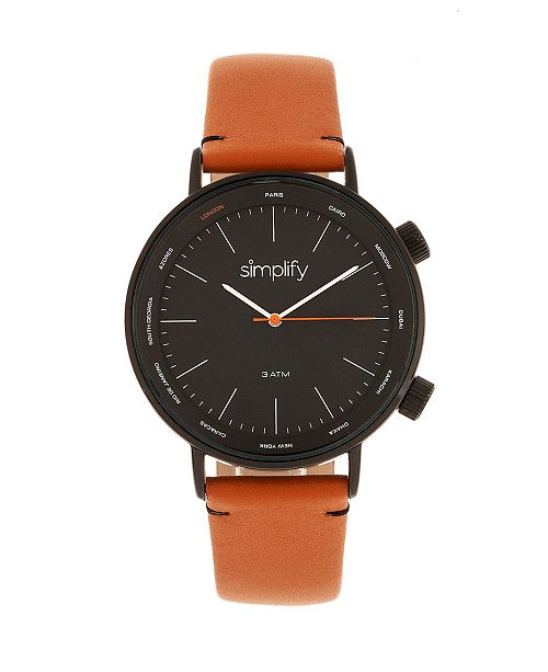Simplify Quartz The 3300 Black Dial, Genuine Orange Leather Watch 43mm