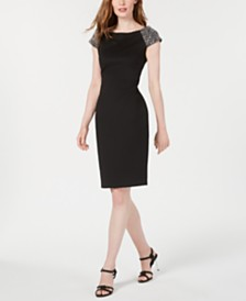 Calvin Klein Embellished Off-The-Shoulder Sheath Dress