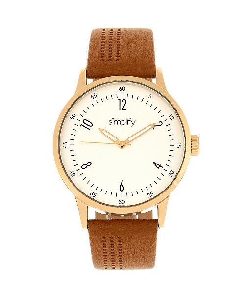 Simplify Quartz The 5700 Genuine Brown Leather Watch 44mm