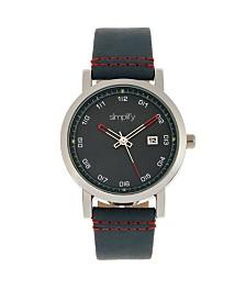 Simplify Quartz The 5300 Black Dial, Genuine Blue Leather Watch 40mm