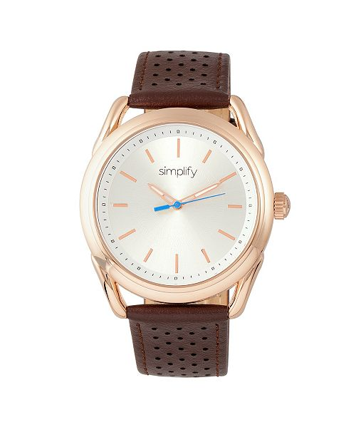 Simplify Quartz The 5900 Rose Gold Case, Genuine Brown Leather Watch 43mm