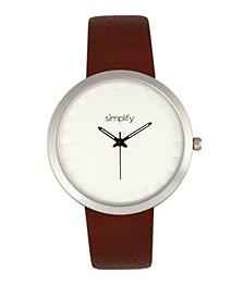 Quartz The 6000 Silver Case, Brown Leatherette Watch 43mm