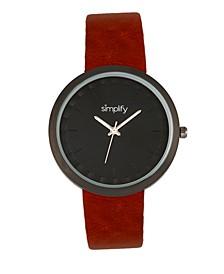 Quartz The 6000 Dark Brown Leatherette Watch 43mm
