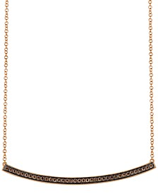 "Chocolatier® Diamond Curved Bar 18"" Pendant Necklace (1/3 ct. t.w.) in 14k Rose Gold"