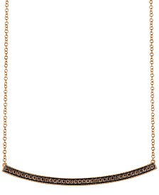 "Le Vian Chocolatier® Diamond Curved Bar 18"" Pendant Necklace (1/3 ct. t.w.) in 14k Rose Gold"