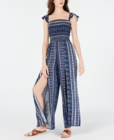 American Rag Juniors' Printed Smocked Split-Leg Jumpsuit, Created for Macy's