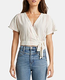 Shyla Striped Surplice Crop Top