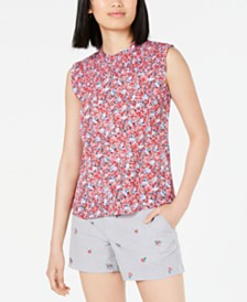 Maison Jules Sleeveless Printed Smocked-Neck Top, Created for Macy's