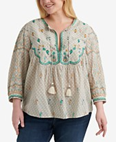 f0afaa27da9 Lucky Brand Plus Size Evelyn Embroidered Peasant Top