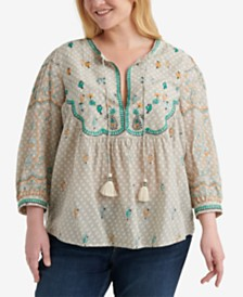 Lucky Brand Plus Size Evelyn Embroidered Peasant Top