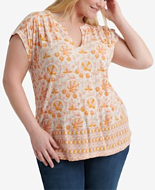 Lucky Brand Plus Size Woodblock Printed Top