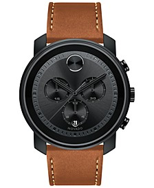 Men's Swiss Chronograph Bold Brown Leather Strap Watch, Created for Macy's,  44mm