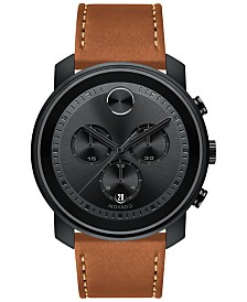 Movado Men's Swiss Chronograph Bold Brown Leather Strap Watch, Created for Macy's,  44mm
