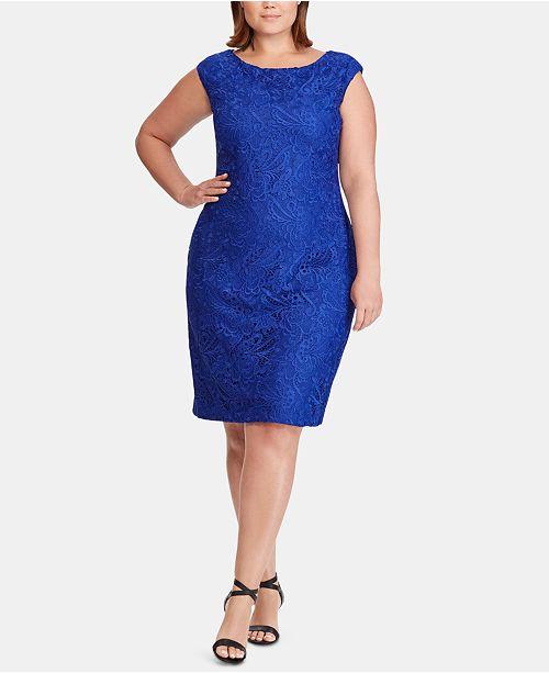 Plus Size Lace Cap-Sleeve Dress