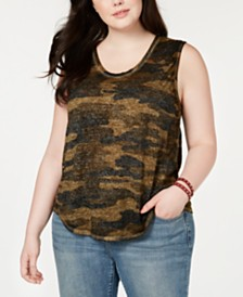 Lucky Brand Plus Size Burnout Camouflage-Print Top