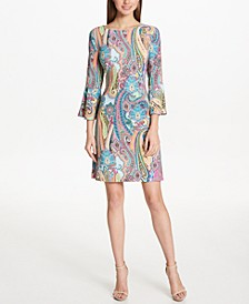 Printed Jersey Bell Sleeve A-line Dress