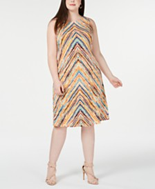 Jessica Howard Plus Size Printed Shift Dress