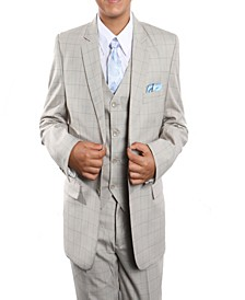 Windowpane 2 Button Solid Vested Suits for Boys