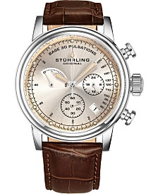 Stuhrling Men's Quartz Pulsometer Chronograph, Faded Off-White Dial, Brown Leather Strap Watch