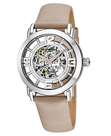 Stainless Steel Case on Tan Satin Twill Covered Genuine Leather Strap, Silver Dial, with Tan Accents