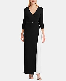 Lauren Ralph Lauren Two-Tone Belted Jersey Gown