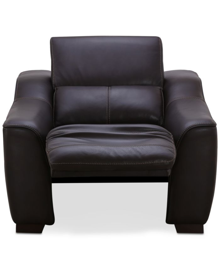 """Furniture CLOSEOUT! Ruthin 44"""" Large Leather Recliner with Power Headrest and Footrest & Reviews - Recliners - Furniture - Macy's"""