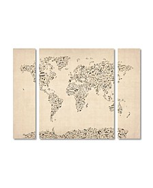 "Michael Tompsett 'Music Note World Map' Multi Panel Art Set Small - 32"" x 24"" x 2"""