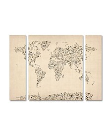 "Michael Tompsett 'Music Note World Map' Multi Panel Art Set Small - 32"" x 24"" x 2"""