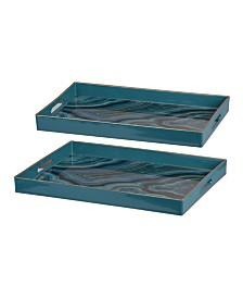 Effra Rectangular Trays, Marbled, Set of 2