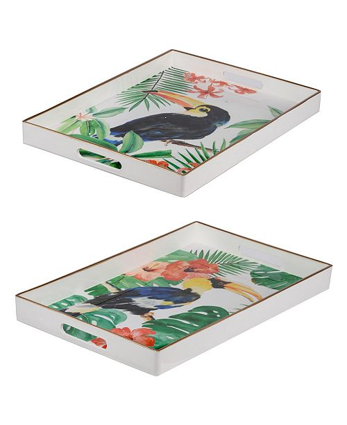 AB Home Organic Elements Modern Chic Assorted Color Trays, Set of 2