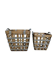 Square Wooden Woven Baskets, Set of 2