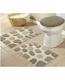 3 Piece River Rocks Bath Mat Set