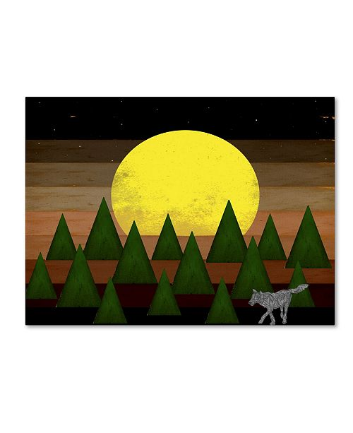 """Trademark Global Tammy Kushnir 'Nighttime In The Forest With Wolf' Canvas Art - 47"""" x 35"""" x 2"""""""