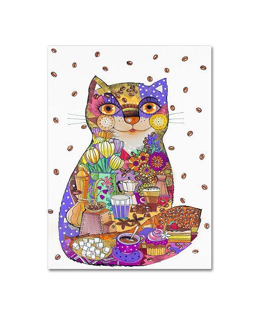 "Trademark Global Oxana Ziaka 'Coffee Cat 3' Canvas Art - 24"" x 18"" x 2"""