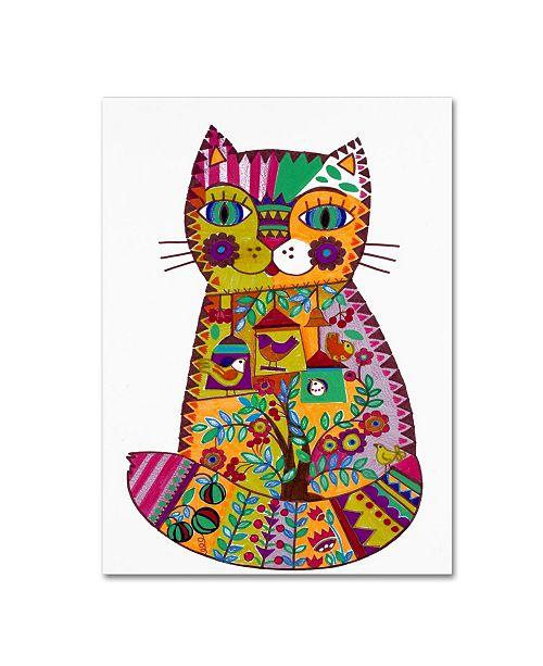 "Trademark Global Oxana Ziaka 'Folk Cat 2' Canvas Art - 32"" x 24"" x 2"""