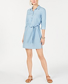 Chambray Collared Self-Tie Dress