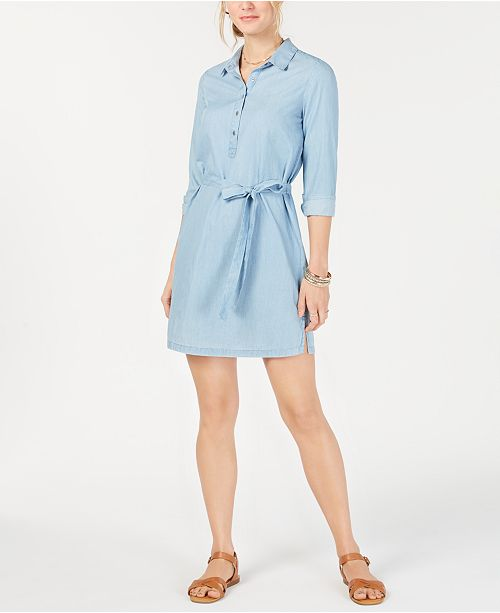 Lucky Brand Chambray Collared Self-Tie Dress