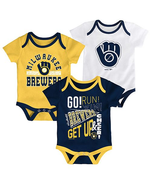 purchase cheap 84d59 8b002 ... Outerstuff Baby Milwaukee Brewers Newest Rookie 3 Piece Bodysuit Set ...