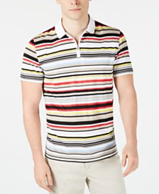 Alfani Men's Multi-Stripe Quarter-Zip Polo, Created for Macy's