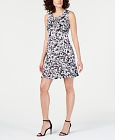 NY Collection Petite Printed Flounce-Hem Dress & Necklace