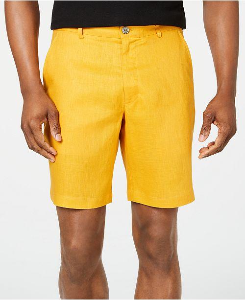 Tasso Elba Men's Flat-Front Linen Shorts, Created for Macy's