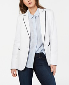 Tommy Hilfiger Cotton Contrast-Trim Blazer, Created for Macy's